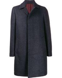 メンズ Dell'Oglio ヘリンボーンチェック コート Blue