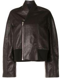 Rick Owens Brown Wide-sleeve Leather Jacket