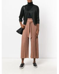 Pleats Please Issey Miyake | Brown Cropped High-waisted Trousers | Lyst