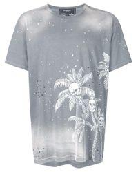 T-shirt Skull Palm DOMREBEL pour homme en coloris Gray