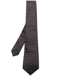 Kiton Brown Embroidered Tie for men
