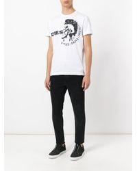 DIESEL White Logo Print T-shirt for men