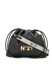 Bandolera con cordones y placa con logo N°21 de color Black