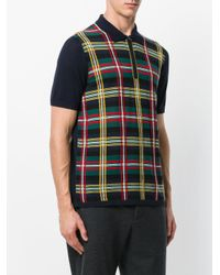 Pringle of Scotland - Blue Knitted Tartan Polo Shirt for Men - Lyst