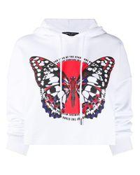 Sudadera corta con capucha y estampado de mariposa Frankie Morello de color White