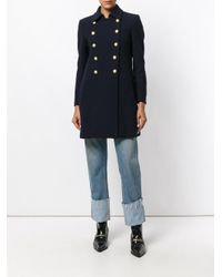 Dondup - Blue Double Breasted Coat - Lyst