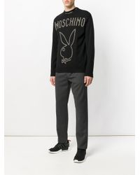 Moschino Black Playboy Studded Sweater for men