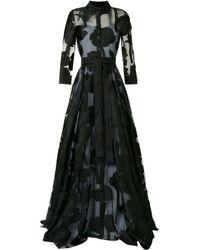 Carolina Herrera フローラル カットアウト ドレス Black