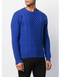 Pull en maille torsadée Drumohr pour homme en coloris Blue
