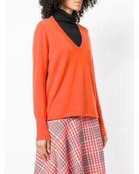 Allude Orange Cashmere V-neck Jumper