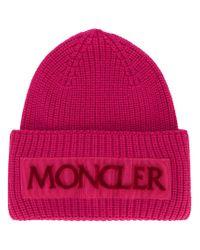 Moncler Pink Rib Knit Logo Beanie