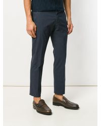 Entre Amis - Blue Cropped Tapered Trousers for Men - Lyst