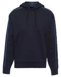 Sweat à capuche à empiècements contrastants Prada pour homme en coloris Blue