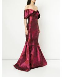 Zac Posen Red Off The Shoulder Mermaid Gown
