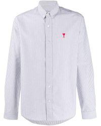 Полосатая Рубашка С Логотипом AMI для него, цвет: White