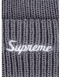 Supreme Gray Loose Gauge Beanie for men