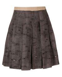 Falda corta con pliegues del 2000 Prada Pre-Owned de color Brown