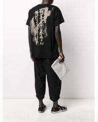 Yohji Yamamoto Black Script-print T-shirt for men