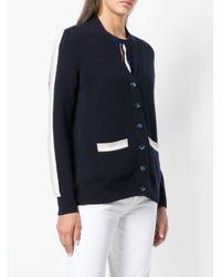 N.Peal Cashmere Blue Contrast Stripe Cardigan