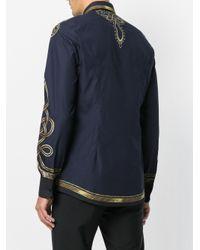 Dolce & Gabbana Blue Military Jacket Print Shirt for men