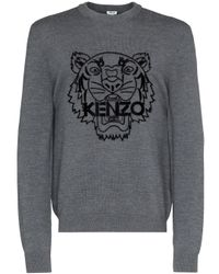 Pull imprimé Tiger KENZO pour homme en coloris Gray