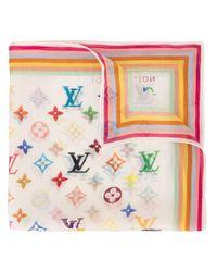 Foulard à motif monogrammé Louis Vuitton en coloris White