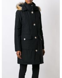 Woolrich Black Hooded Rabbit Fur Parka