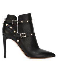 Valentino Black 'rockstud' Leather Boots