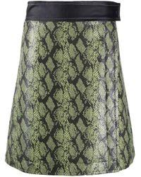 Stand Studio Green Snakeskin-effect A-line Skirt