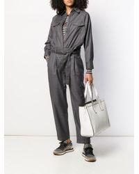 Combinaison ample à taille ceinturée Brunello Cucinelli en coloris Gray