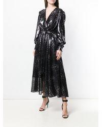 Robe brodée de sequins à motif léopard MSGM en coloris Black
