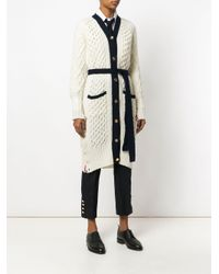 Thom Browne White Long Cable Knit V-neck Cardigan Coat