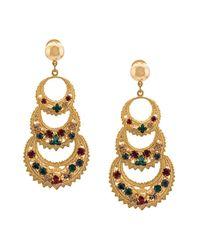 Oscar de la Renta Metallic Rhinestone Embellished Earrings