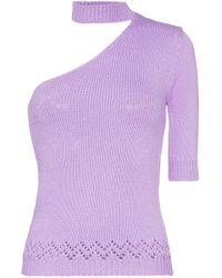 T-shirt en maille à design asymétrique à une épaule Les Rêveries en coloris Purple