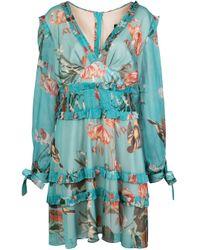 PATBO Blue Kurzes Kleid mit Blumen-Print