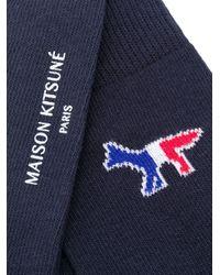 メンズ Maison Kitsuné ロゴ 靴下 Blue