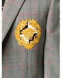 Versace Black Medusa Patch Checked Blazer for men