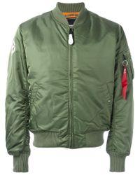 Alpha Industries Green Zipped Arm Bomber Jacket for men