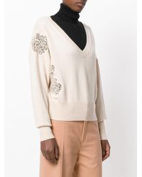 Chloé - Natural Lace Detail V Neck Sweater - Lyst