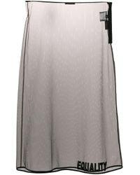 Versace Black Equality Embroidered Sheer Skirt