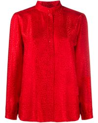 A.P.C. ノーカラー シャツ Red