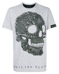 T-shirt con teschio stampato di Philipp Plein in Gray da Uomo