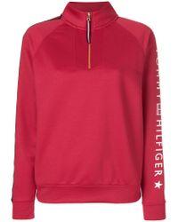 Tommy Hilfiger Red Zip Front Sweatshirt