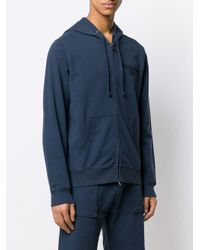 Woolrich Blue Embroidered Logo Zipped Hoodie for men