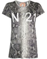Camiseta con efecto de piel de serpiente N°21 de color Gray