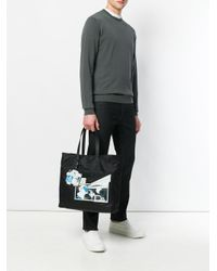 Prada Black Monkey Robot Logo Print Shopping Tote for men