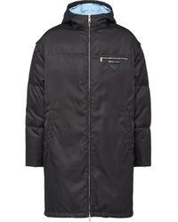 Abrigo con cremallera y capucha Prada de hombre de color Black
