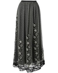 RED Valentino - Black Embroidered Layer Skirt - Lyst