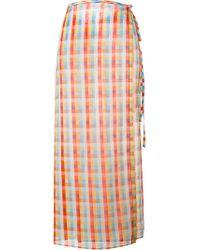 Miu Miu - Multicolor - Checked Midi Skirt - Women - Cotton - 38 - Lyst