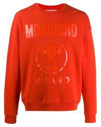 Moschino Orange Double Question Mark Print Sweatshirt for men